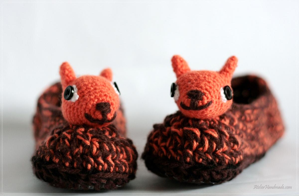 papuci forma veverita crosetate