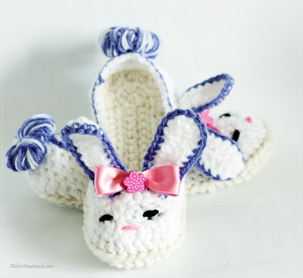 papuci interior iepuri crosetati