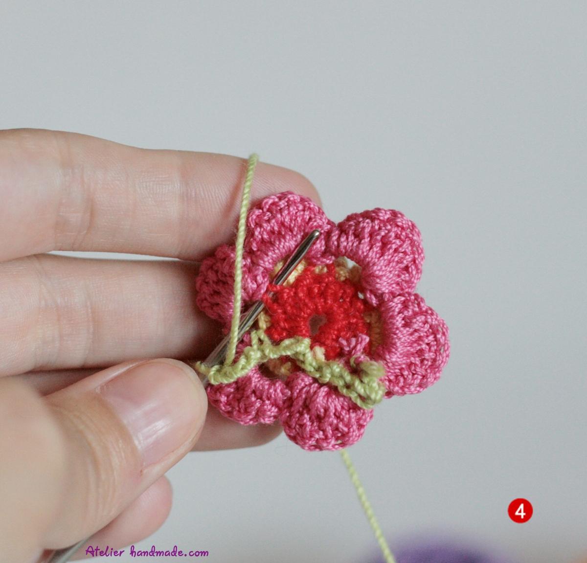cum sa crosetezi o floare in multe culori