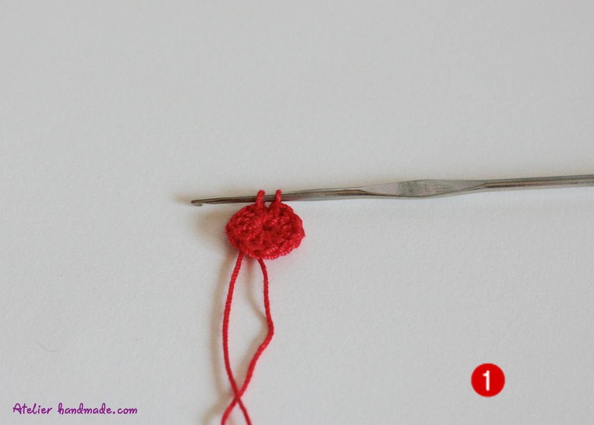 floare crosetata 6 picioruse simple