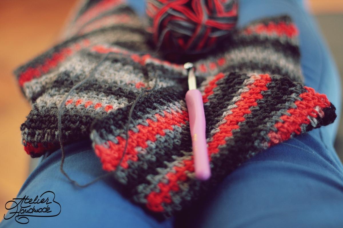 moss stitch man scarf