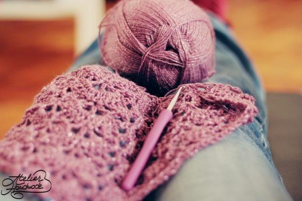 WIP: Crochet Shawl of Alize Sal yarn | Șal Croșetat din fir Alize Șal