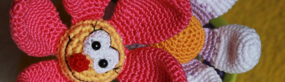 crochet flower in a pot