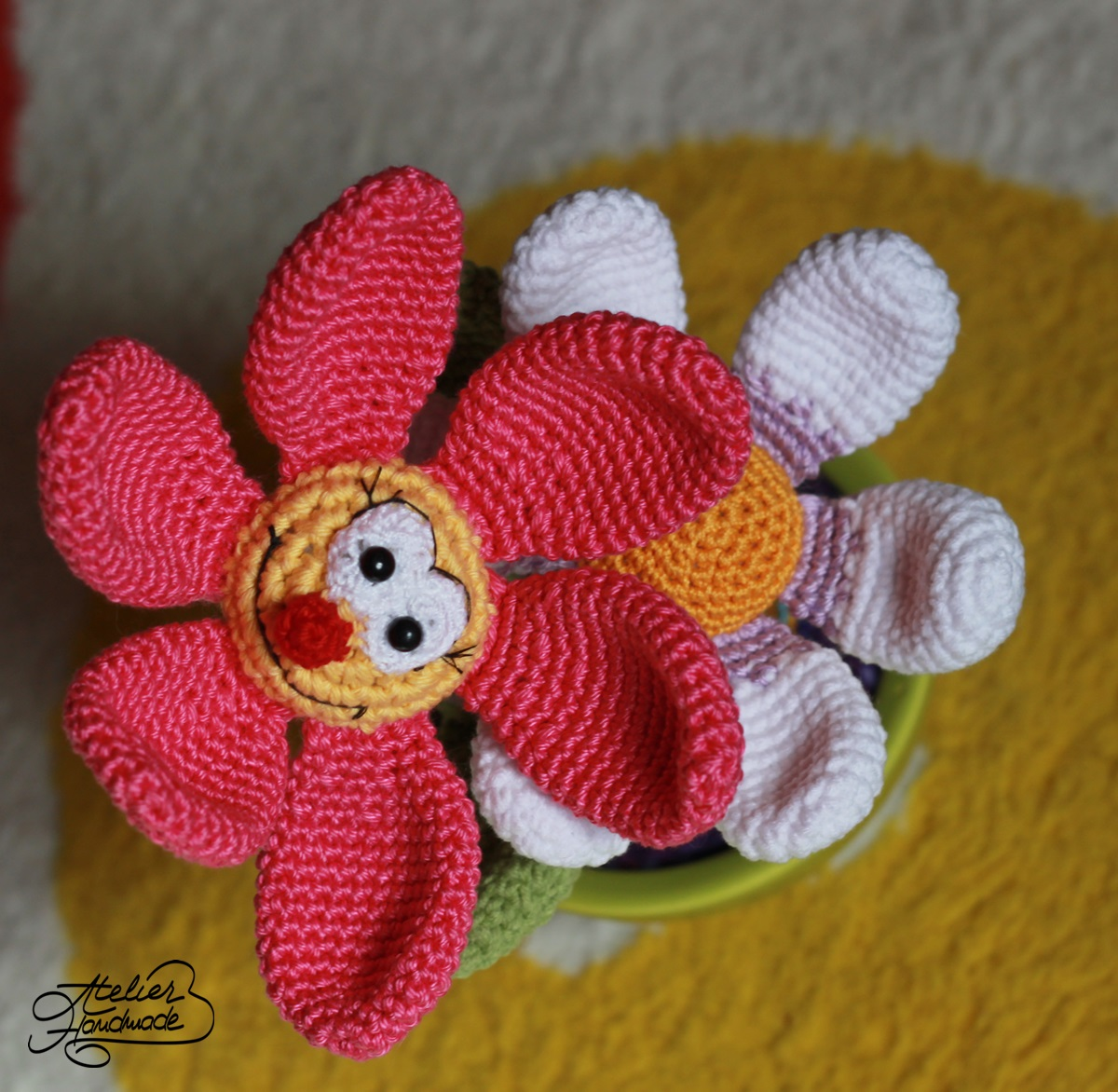 crochet flower in a pot
