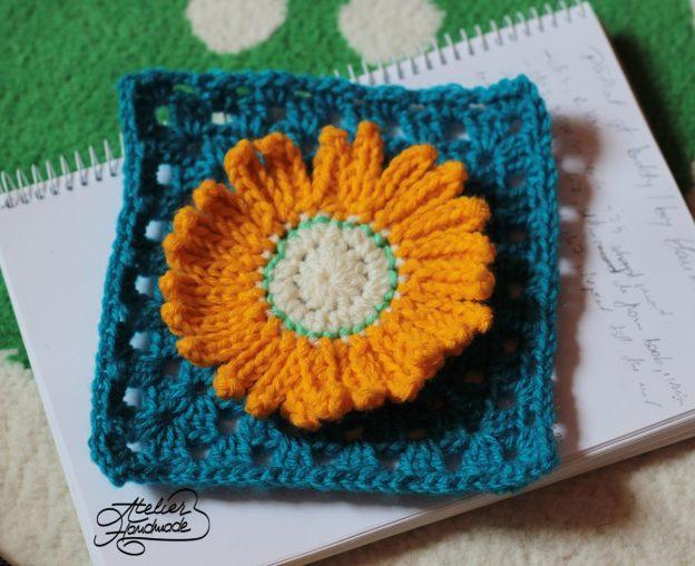 Free Pattern: Flower Granny Square – Pătrat croșetat cu floare